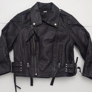 ASOS Double Buckle Leather Biker Moto Jacket